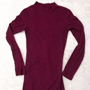 Maroon Mock Neck Dress